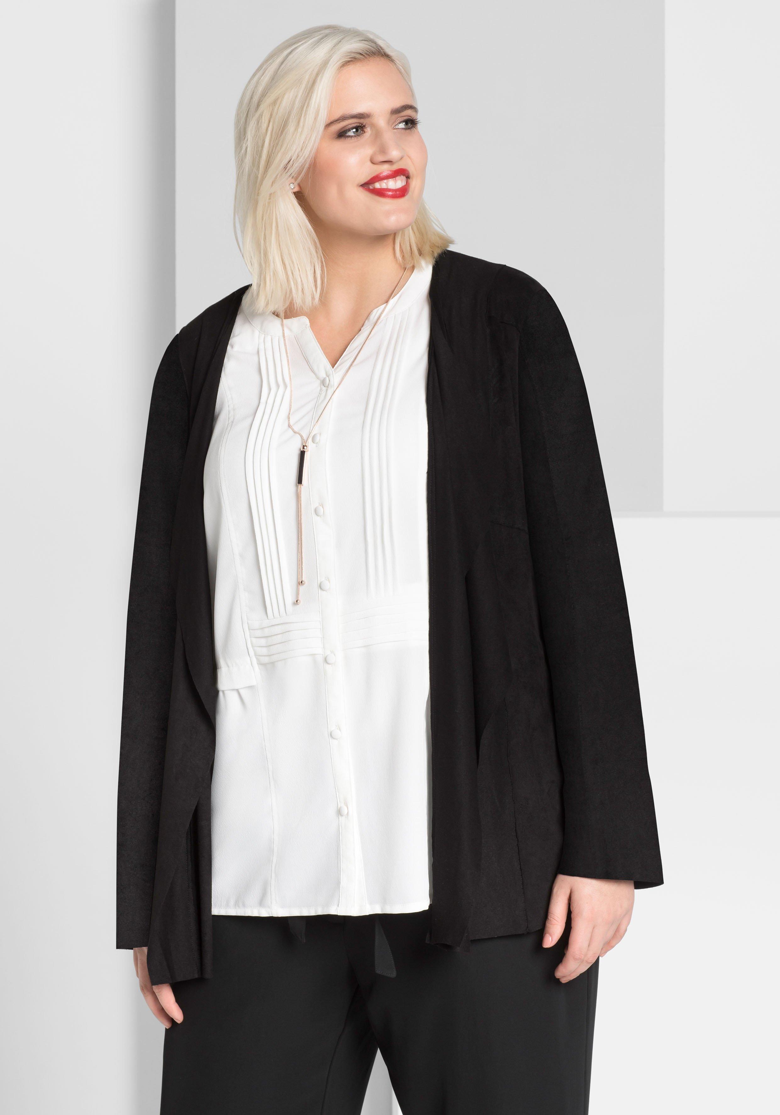 Große Größen: Jacke in Veloursleder-Optik, schwarz, Gr.40-58