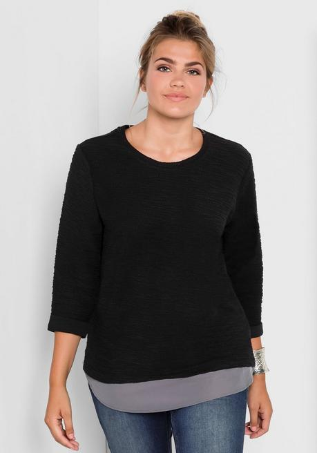 Sweatshirt in 2-in-1-Optik - schwarz - 40/42
