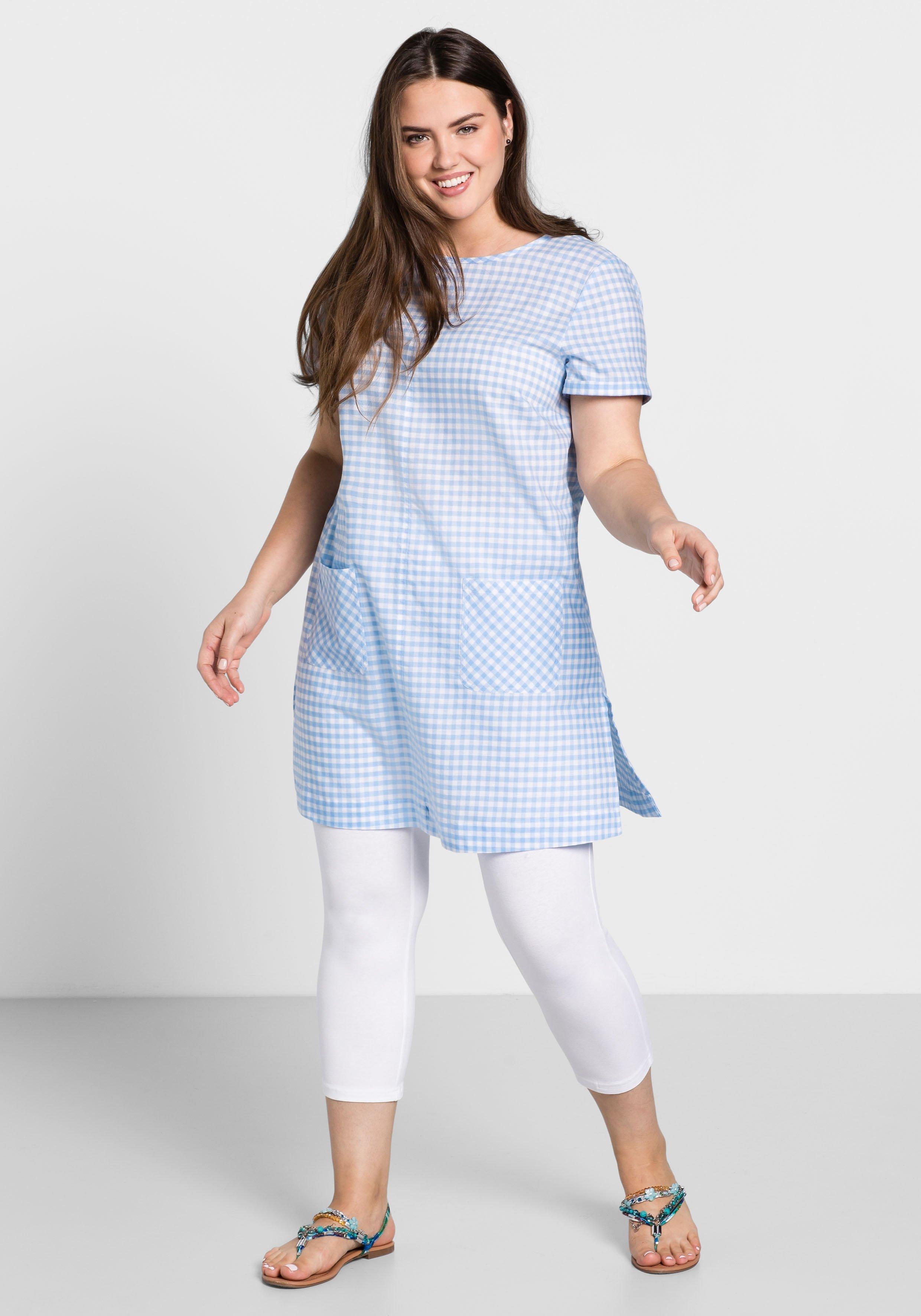 Große Größen: Karokleid mit aufgesetzten Taschen, weiß-pastellblau, Gr.44-58