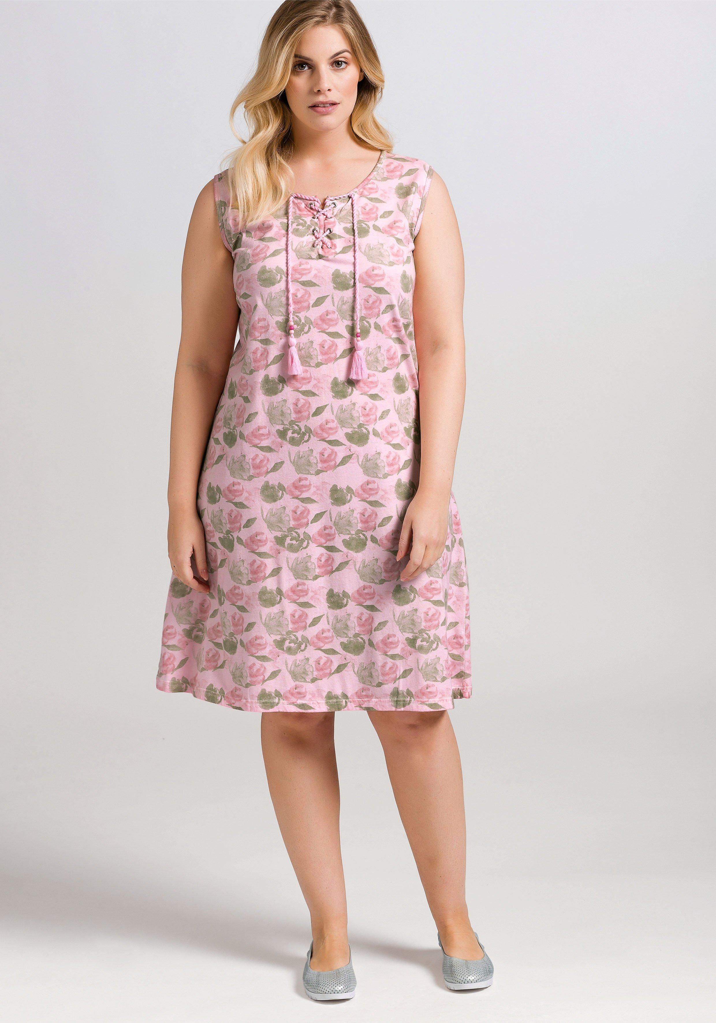 Große Größen: Jerseykleid mit Alloverdruck, cre...