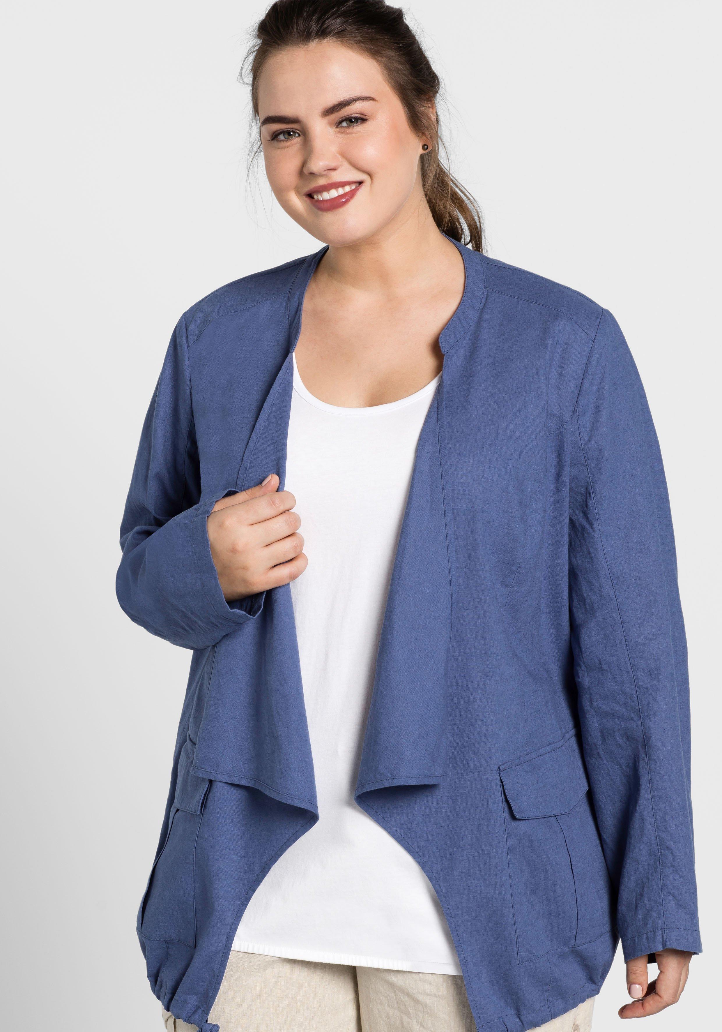 Große Größen: Jacke aus Leinen-Mix, rauchblau, Gr.44-58
