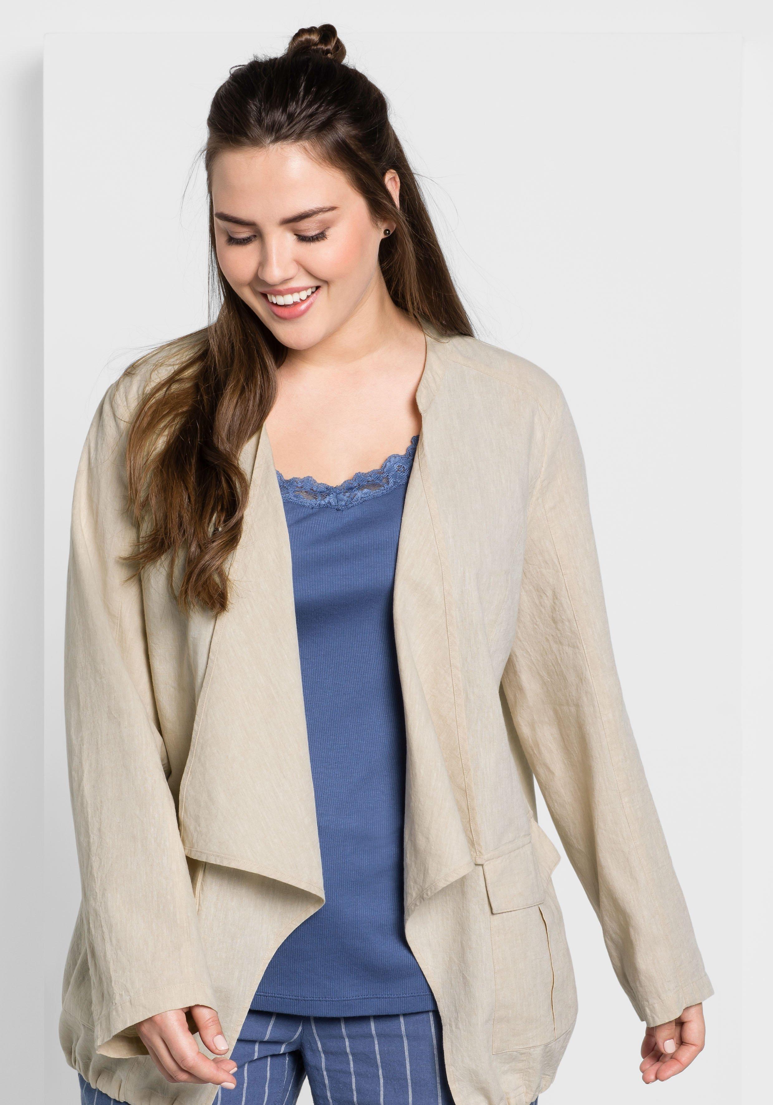 Große Größen: Jacke aus Leinen-Mix, beigefarben, Gr.44-58