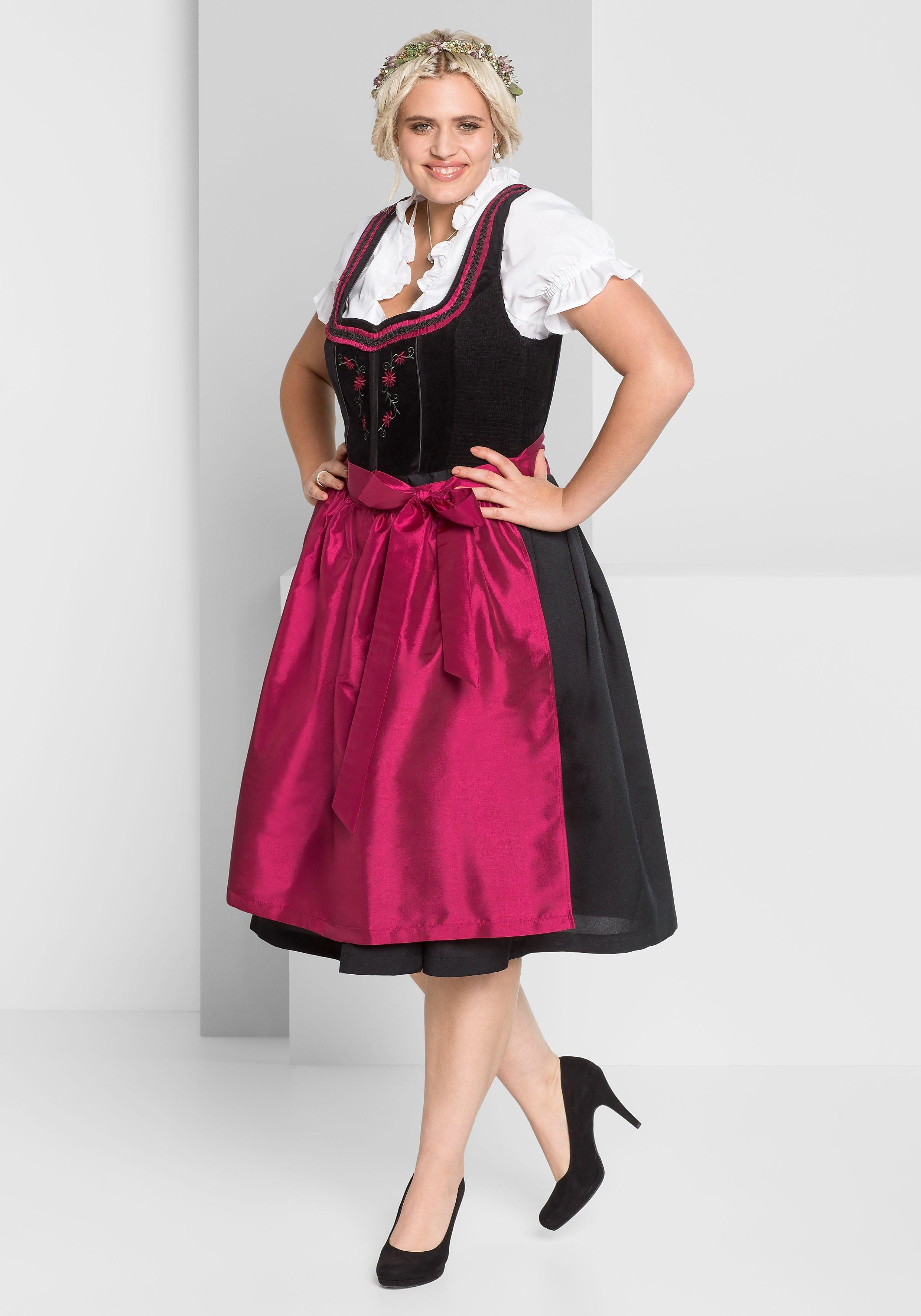Große Größen: Dirndl mit Schürze und Bluse 3tlg., schwarz-rot, Gr.44-58