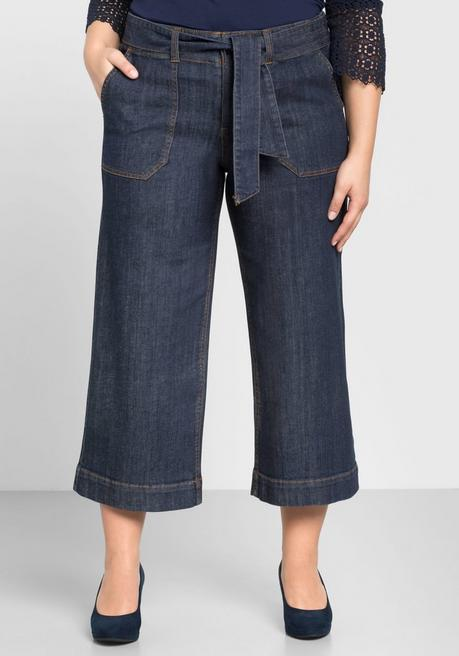 Weite Jeans-Culotte in 7/8-Länge - dark blue Denim - 44