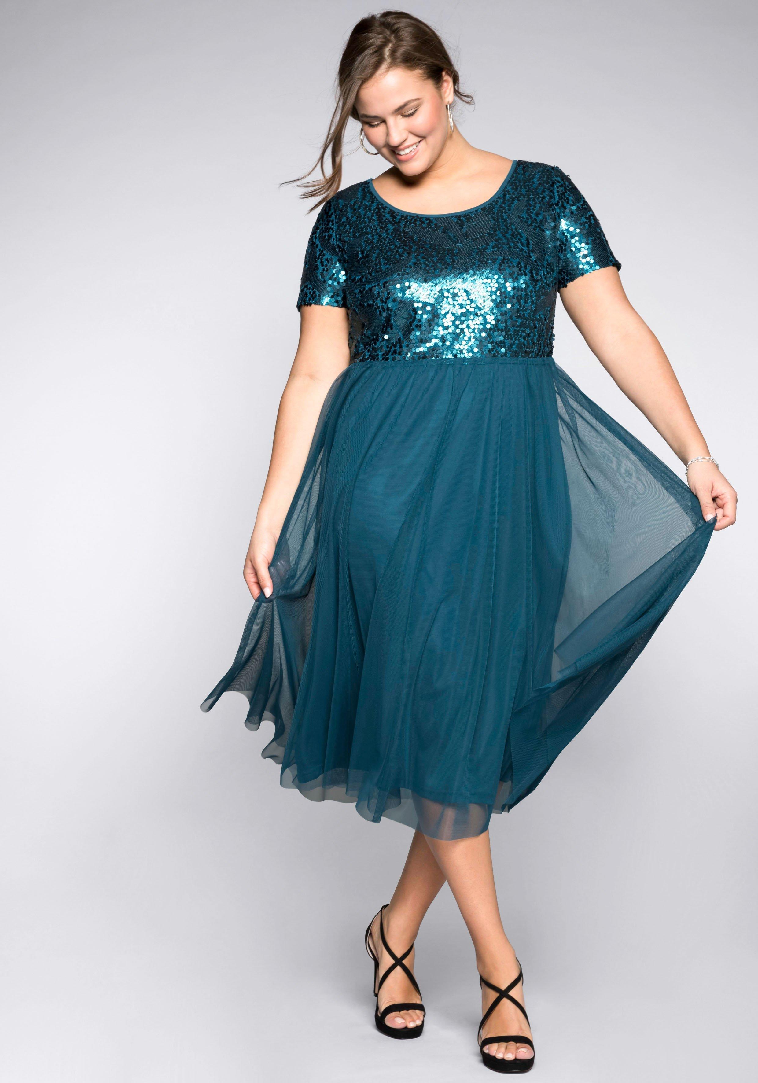 Große Größen: Abendkleid mit Pailletten, d...