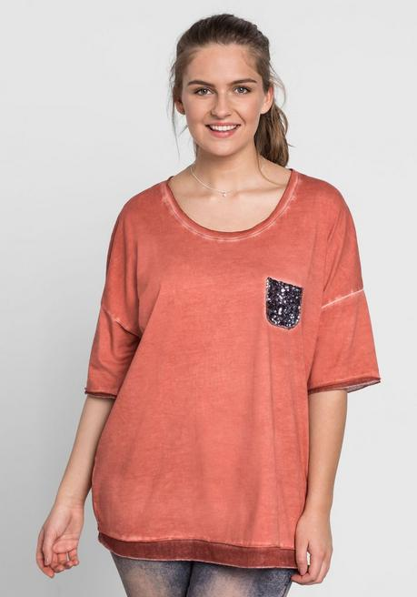 Shirt in Oversize-Form - rostrot - 44/46