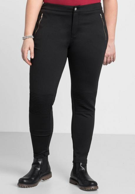 Skinny Jerseyhose in Biker-Optik - schwarz - 44