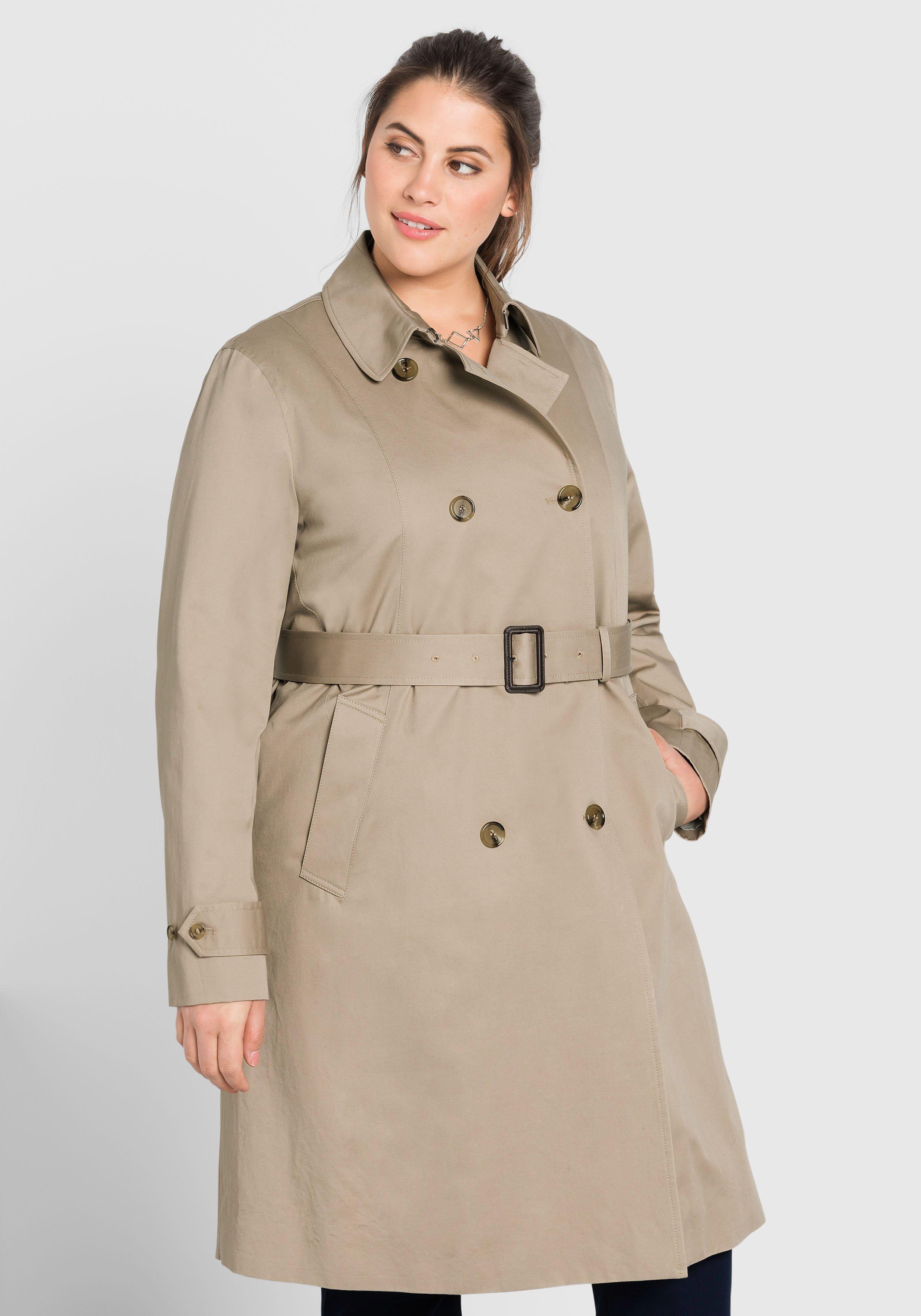 Große Größen: Trenchcoat mit Gürtel, softtaupe, Gr.44-58