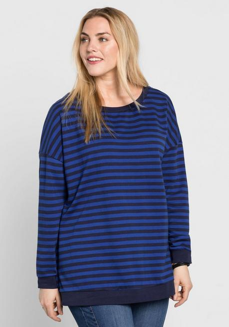 Sweatshirt mit Allover-Streifendruck - marine-royalblau - 52/54