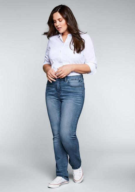 Gerade Stretch-Jeans mit Bodyforming-Effekt - blue Denim - 44