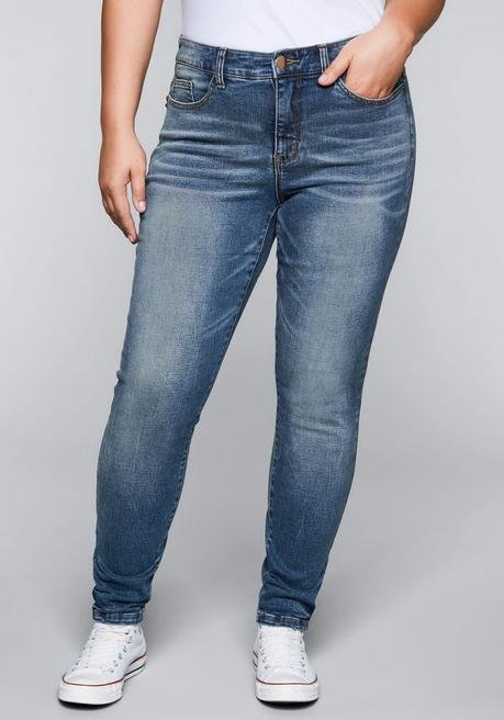 Skinny Stretch-Jeans mit Bodyforming-Effekt - blue Denim - 44