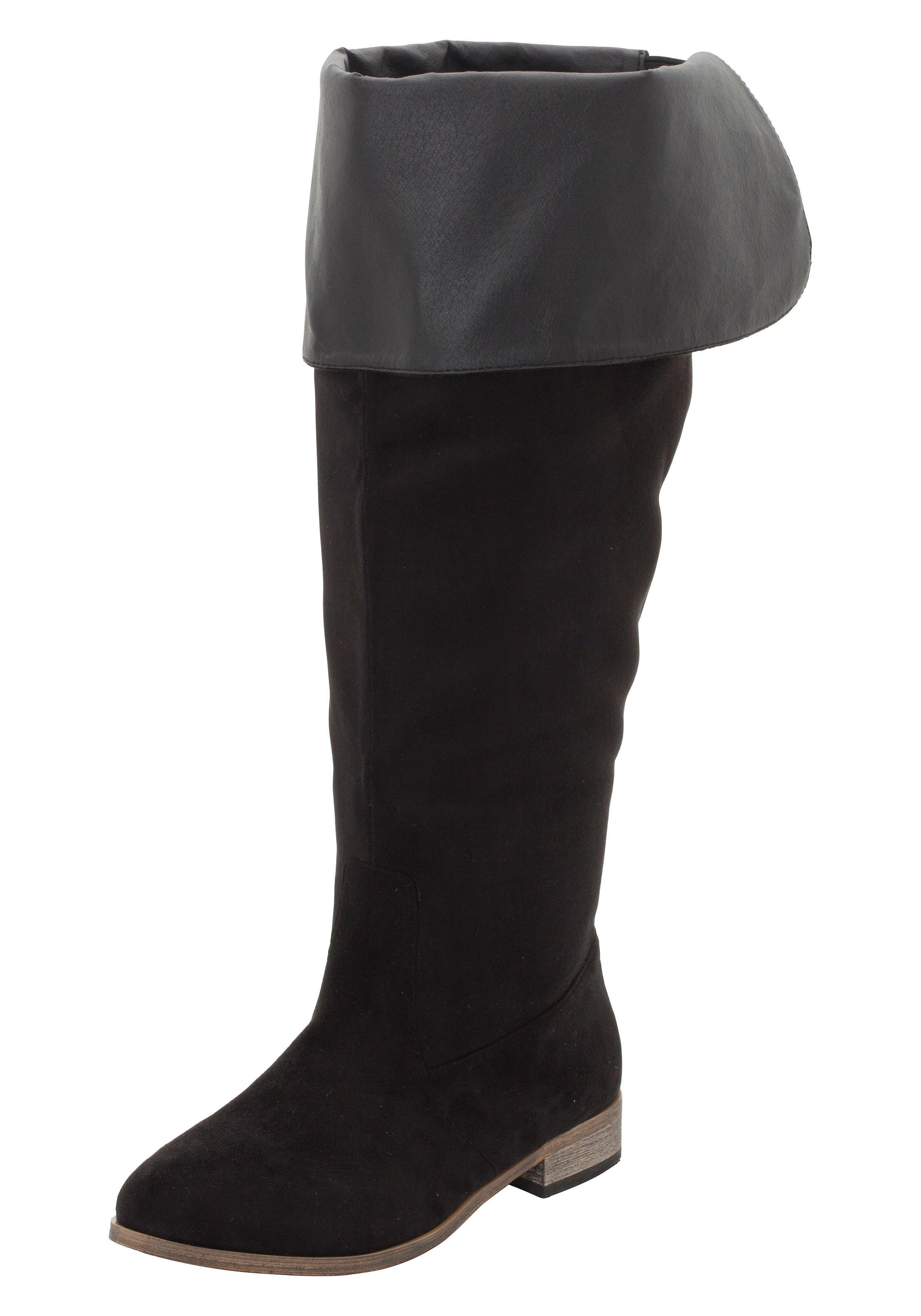 Große Größen: Weitschaftstiefel mit umklappbarem Schaft, schwarz, Gr.37-44