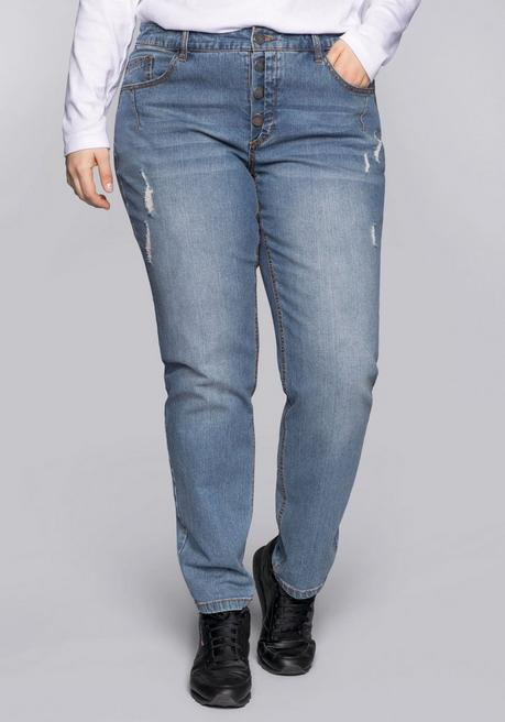 Boyfriend-Jeans mit Destroyed-Effekten - blue Denim - 44