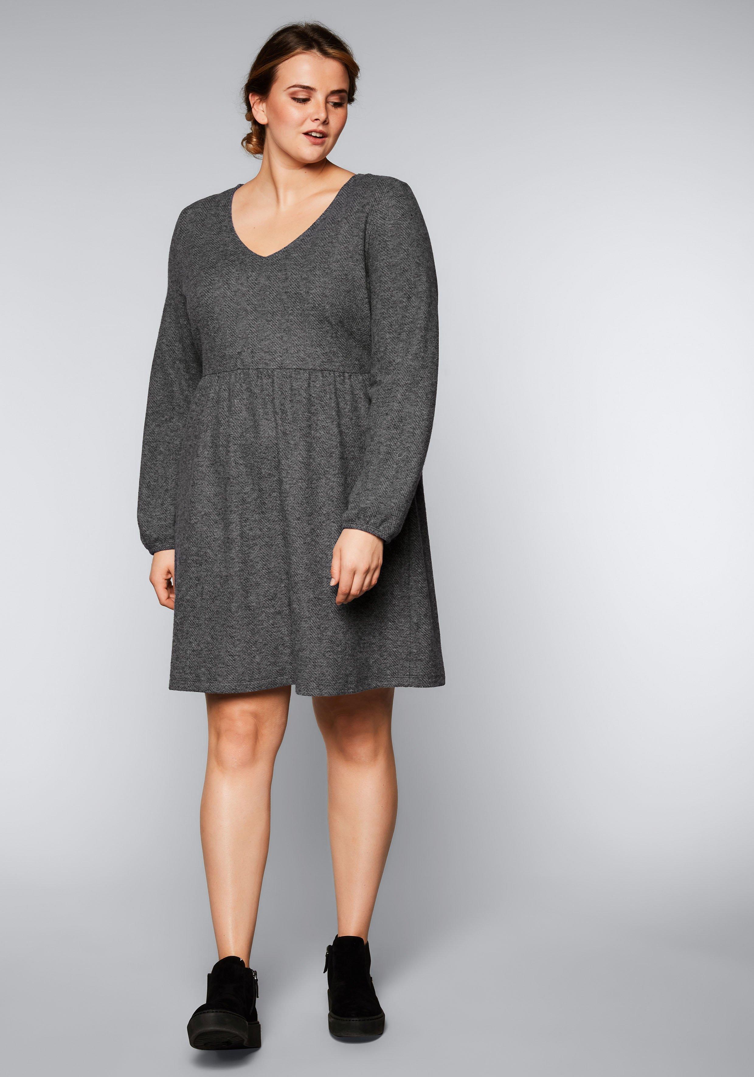 Große Größen: Kleid in Woll-Optik, grau bedruckt, Gr.44-58