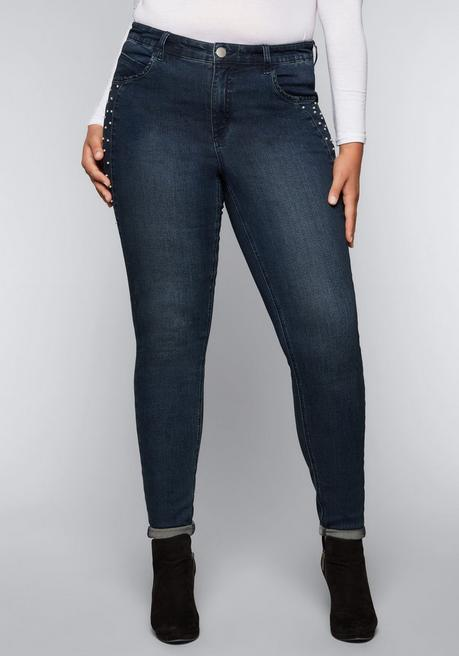 Skinny Stretch-Jeans mit Perlen - dark blue Denim - 44