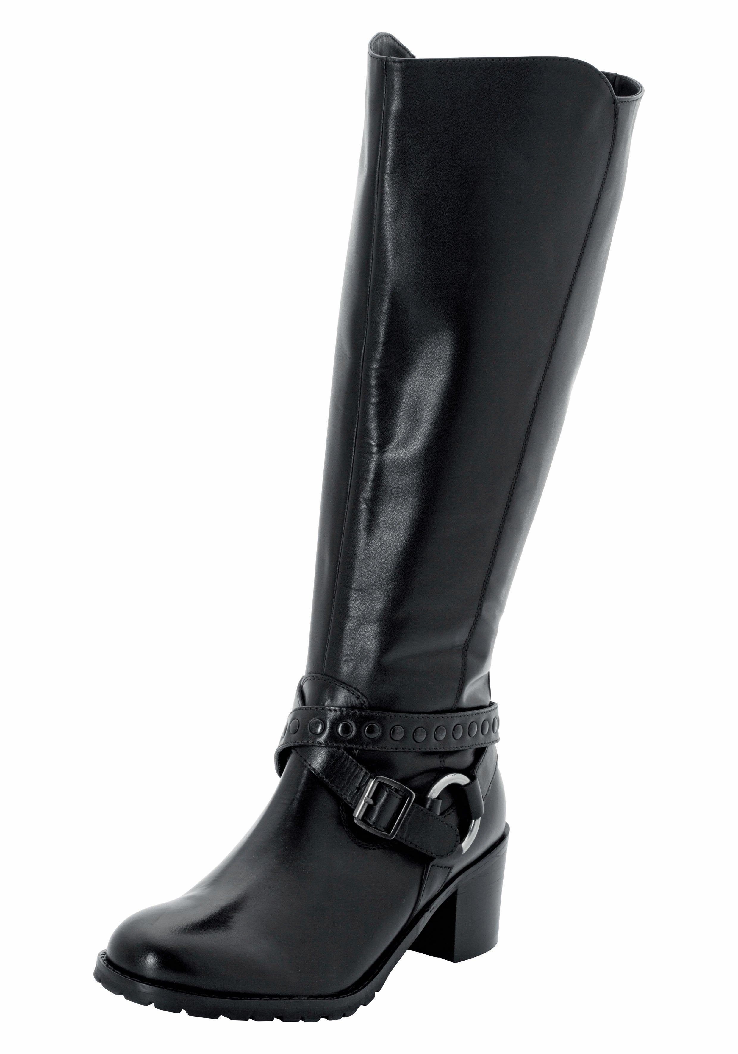 Große Größen: Weitschaftstiefel mit Nietenband und Schnalle, schwarz, Gr.37-44