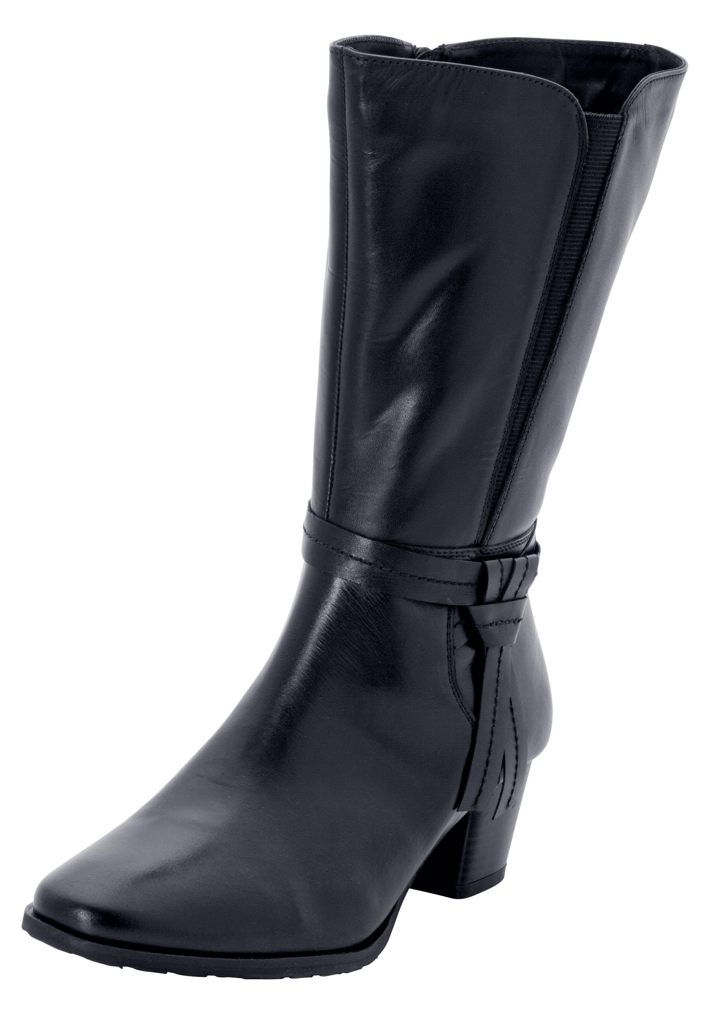 Große Größen: Weitschaftstiefel mit dekorativem Lederband, schwarz, Gr.37-44