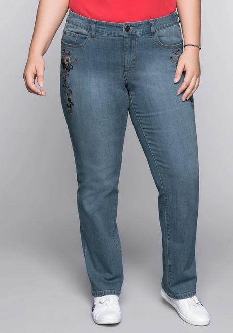 Gerade Stretch-Jeans mit Blumenstickerei - blue Denim - 44