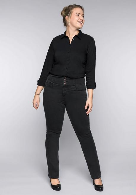 Gerade Power-Stretch-Jeans mit High-Waist-Bund - black Denim - 44