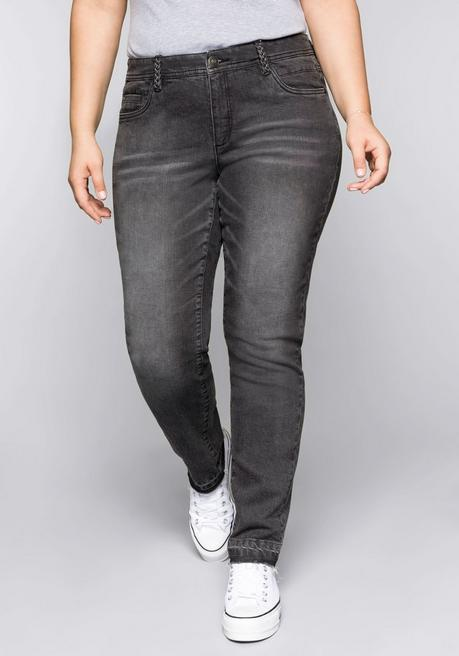 Schmale Stretch-Jeans KIRA mit offenem Saum - grey Denim - 44