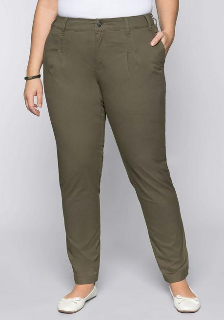 BASIC Schmale Stretch-Hose in Chinoform - dunkelkhaki - 44