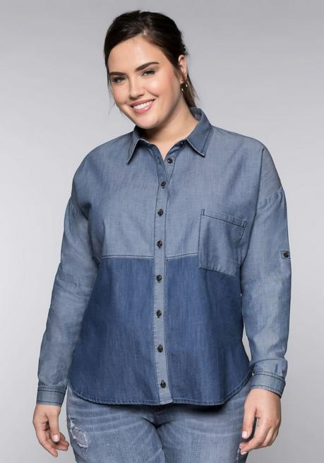 Jeansbluse im Colorblocking mit Krempelärmeln - blue Denim - 44