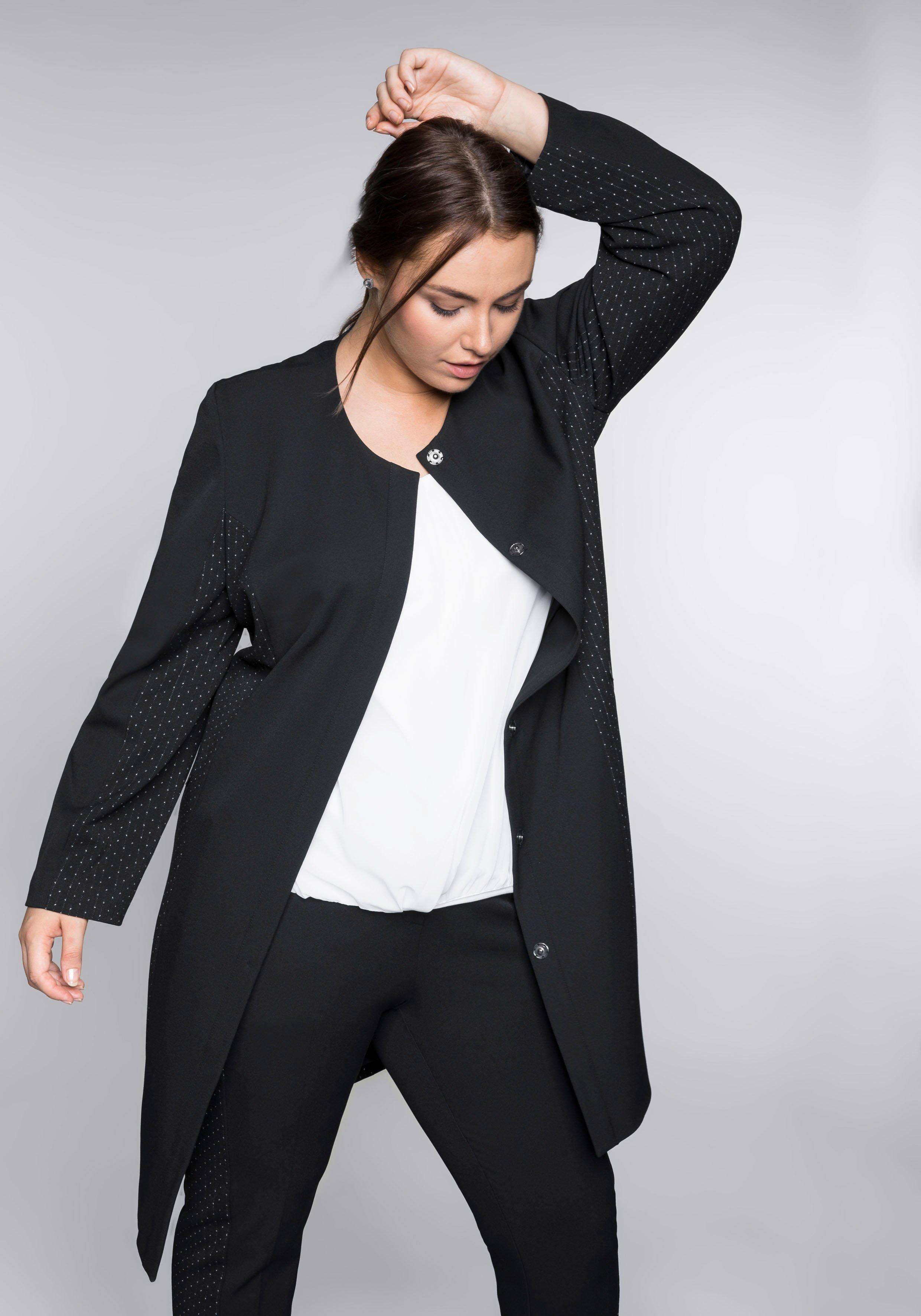 Große Größen: Mantel mit kontrastfarbenen Einsätzen, schwarz, Gr.44-58