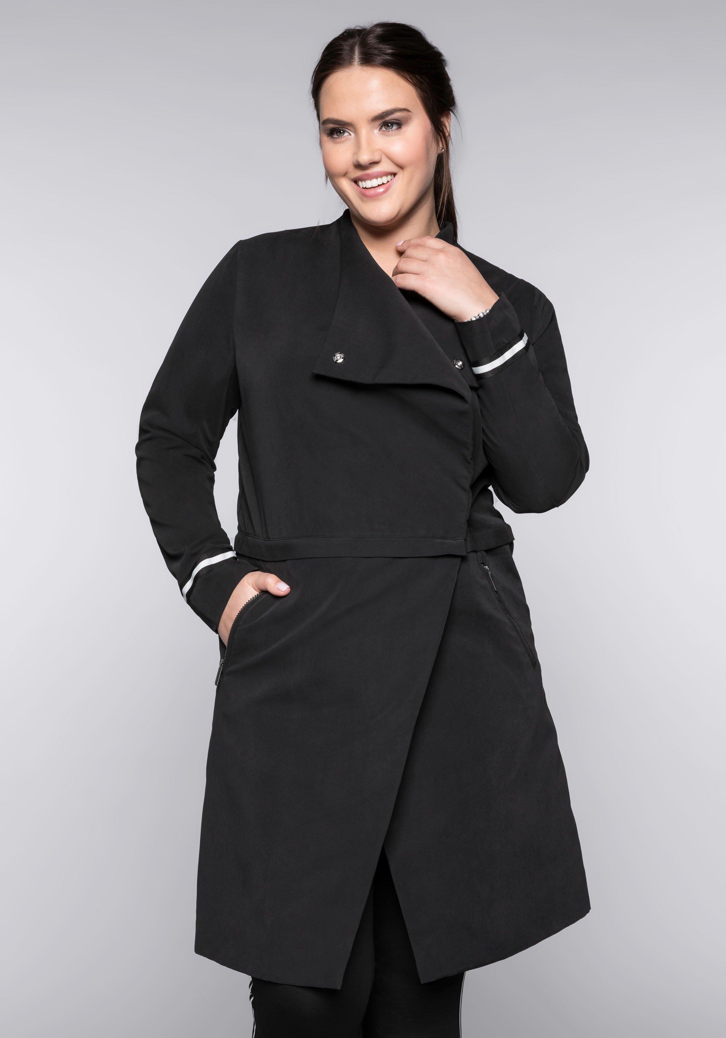 Große Größen: Zipp-Off-Mantel mit Kontraststreifen, schwarz, Gr.44-58