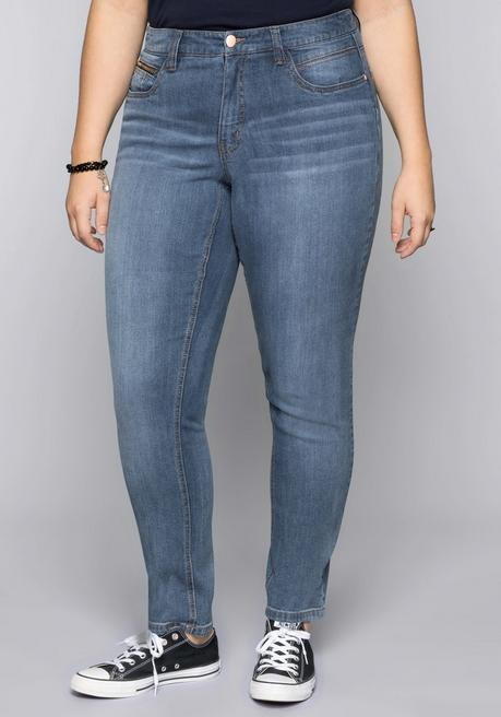 Schmale Stretch-Jeans VERENA - blue Denim - 44