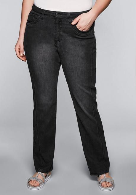 Gerade Stretch-Jeans LANA mit Lyocell - black Denim - 44