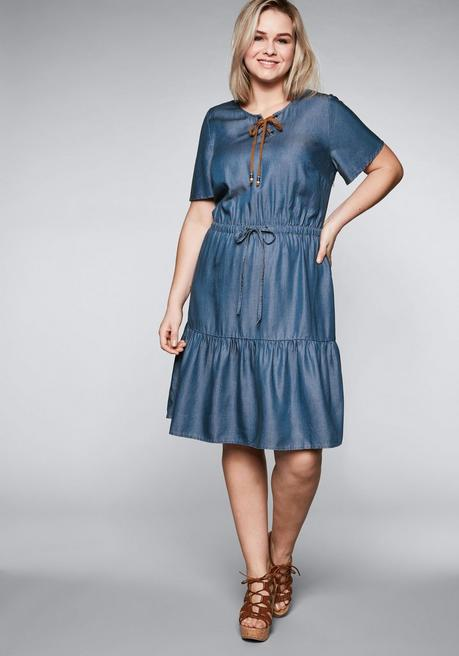 Kleid in Denimoptik aus Lyocell - blue Denim - 44
