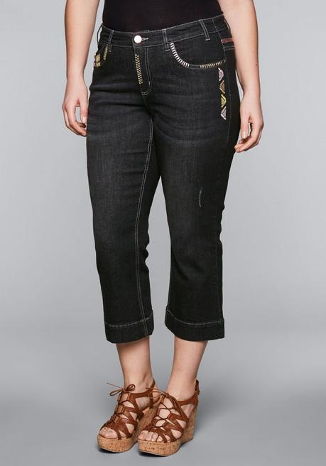 Bootcut-Stretch-Jeans in 7/8-Länge - black Denim - 44