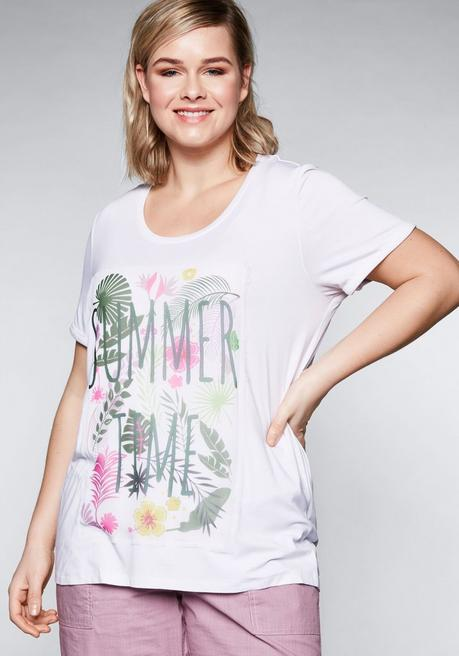 T-Shirt mit Chiffonapplikation - weiß - 44/46