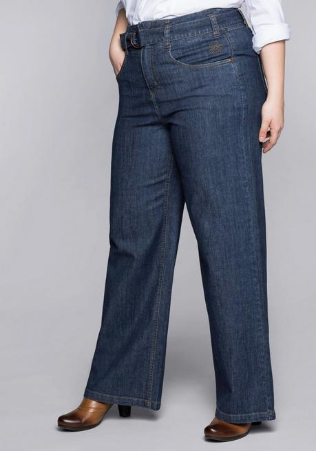 Weite Stretch-Jeans mit High-Waist-Bund - blue Denim - 44