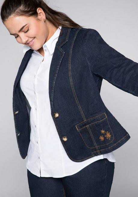 Stretch-Jeansblazer mit kontrastfarbenen Nähten - dark blue Denim - 44