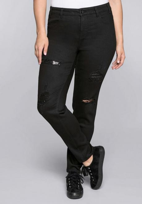Schmale Stretch-Jeans Kira mit Pailletten - black Denim - 44