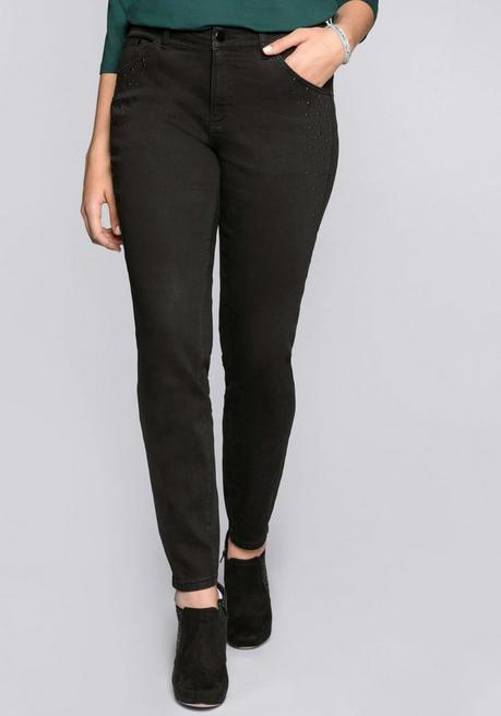 Skinny Stretch-Jeans mit Applikationen - black Denim - 44