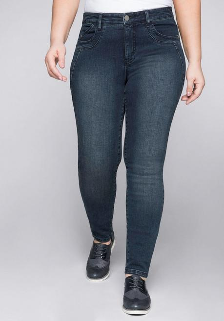 Skinny Stretch-Jeans mit Bodyforming-Effekt - dark blue Denim - 44