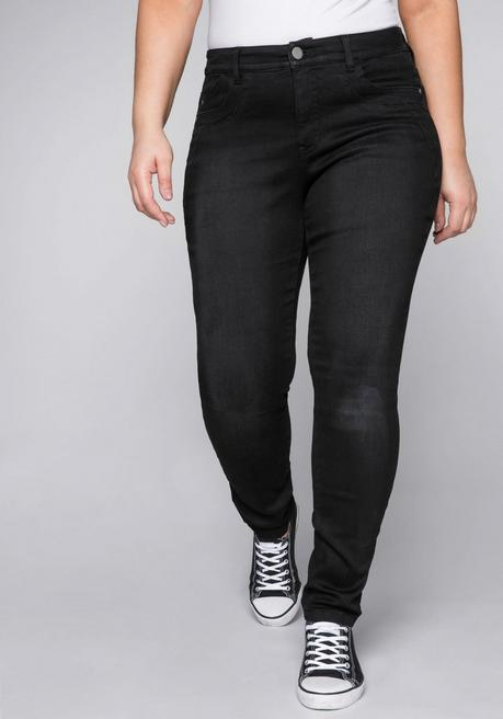 Skinny Stretch-Jeans mit Bodyforming-Effekt - black Denim - 44