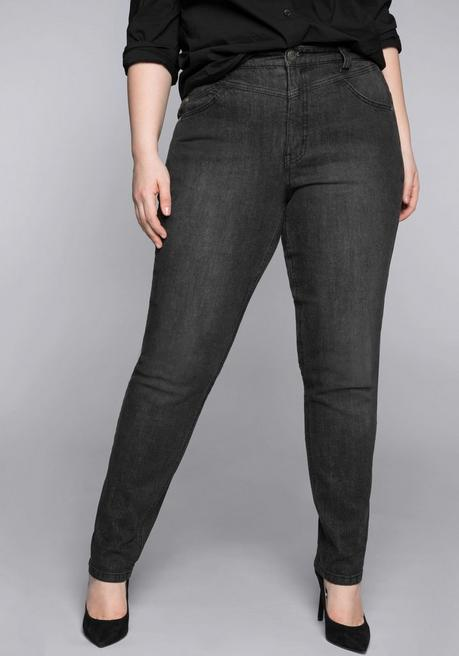 Schmale Stretch-Jeans KIRA mit Bodyforming-Effekt - black Denim - 44