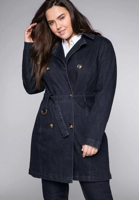 Trenchcoat in elastischer Denimqualität - dark blue Denim - 44
