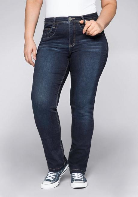 Gerade Stretch-Jeans in ultraflexibler Qualität - dark blue Denim - 44