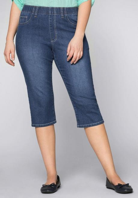Schmale Stretch-Jeggings in Caprilänge - blue Denim - 44