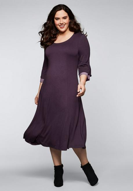 Jerseykleid in Double-Layer-Optik - pflaume - 44