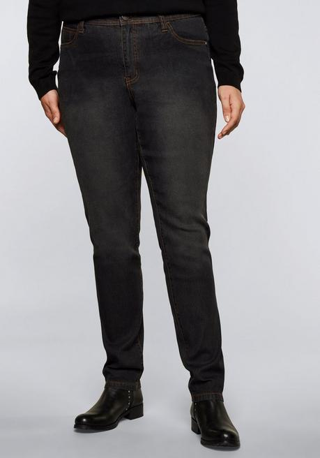 Schmale Stretch-Jeans KIRA in Five-Pocket-Form - black Denim - 44