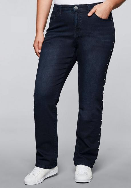 Gerade Stretch-Jeans LANA mit Nieten - blue black Denim - 44