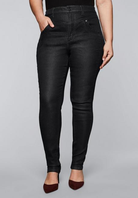 Skinny Stretch-Jeans mit High-Waist-Bund - black Denim - 44
