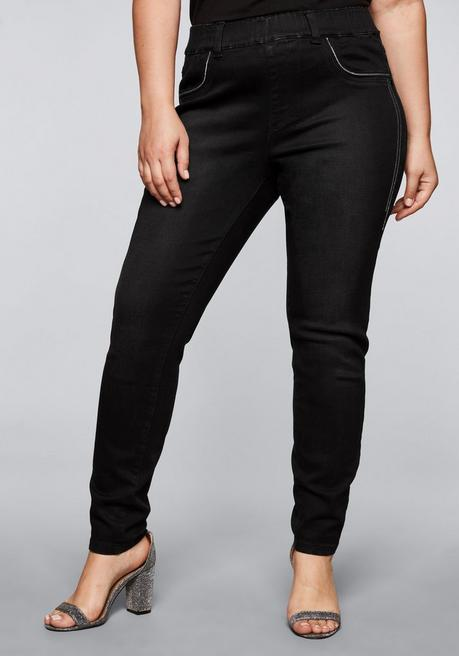 Schmale Stretch-Jeggings mit Bodyforming-Effekt - black Denim - 44