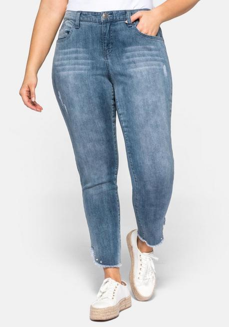 Stretch Jeans SUSANNE in Ankle-Länge - blue Denim - 44