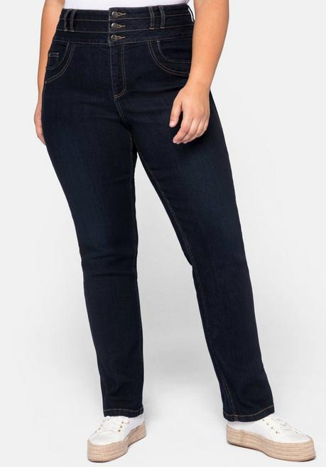 Jeans LANA gerade, mit High-Waist-Bund - dark blue Denim - 44